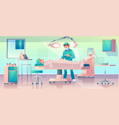 plastic surgeon operating patient in surgery room vector image