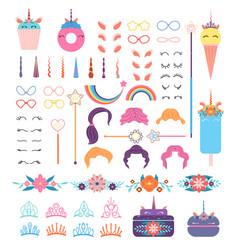 pony unicorn face elements unicorns head with vector image