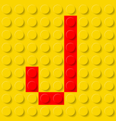 Red letter j in yellow plastic construction kit vector