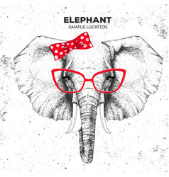 Retro hipster animal elephant hand drawing muzzle vector