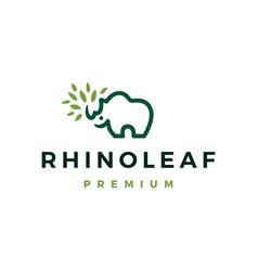 rhino leaf logo icon vector image