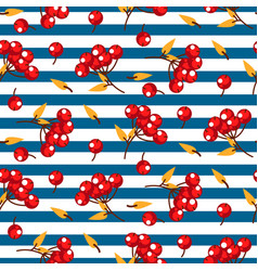 Rowan berry and leaves seamless striped vector