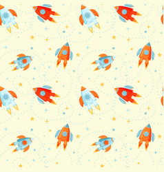 seamless pattern with cartoon rockets vector image