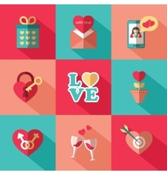 Set of flat valentines day icons vector image