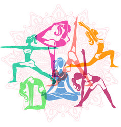 Set of girls in yoga poses vector