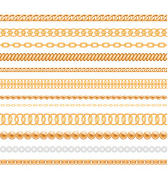 set of gold chains and ropes isolated on white vector image