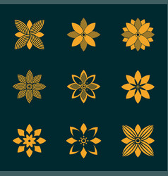 set ornamental emblem flowers symbol vector image