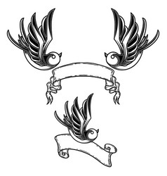 set vintage style tattoo with swallow birds vector image