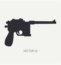 Silhouette line flat military icon handgun vector