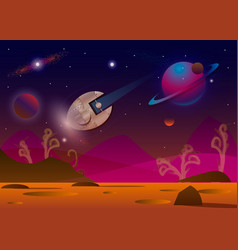spaceship flying over alien vector image