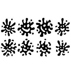 Splash smile cartoon shapes set vector