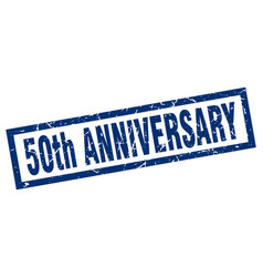 square grunge blue 50th anniversary stamp vector image