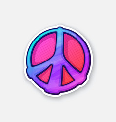 sticker hippies colorful symbol peace vector image