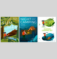 summer posters set - tourist day and night vector image