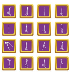 surgeons tools icons set purple square vector image