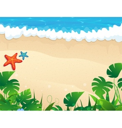 Tropical beach with tropical vegetation vector image