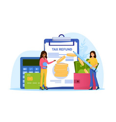 Two female characters making tax refund vector
