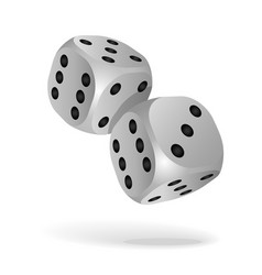 two white falling dice isolated on white vector image