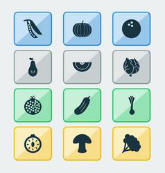 vegetable icons set with tomato slice leek vector image