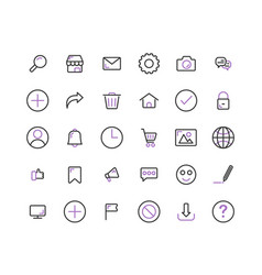 web interface outline icon set and vector image