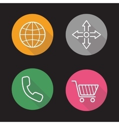 Web store flat linear icons set vector image