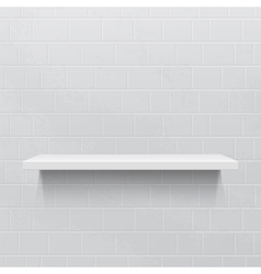 White realistic shelf against brick wall vector