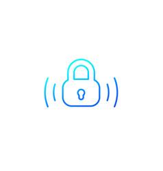 wireless lock line icon on white vector image