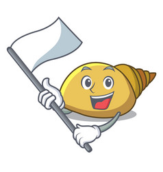 With flag mollusk shell mascot cartoon vector