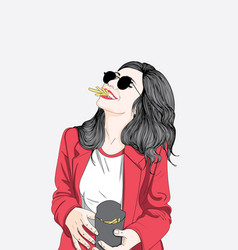 women wearing red robes are chewing french fries vector image