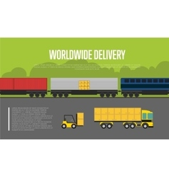 Worldwide delivery banner with cargo train vector image