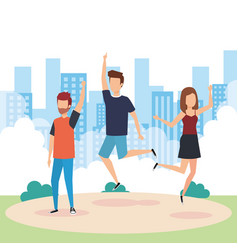 young people jumping design vector image