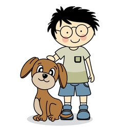 boy with his dog vector image vector image