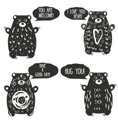 cute bears in artistic linocut style woodcut vector image