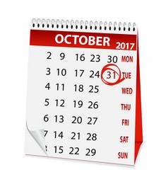 Icon calendar for halloween 2017 vector