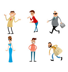 six trendy cartoon characters vector image vector image