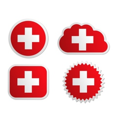 Switzerland flag labels vector image vector image
