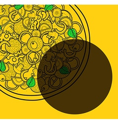Template background with pizza doodle designs for vector image