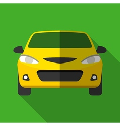 Colorful yellow taxi car icon in modern flat style vector image vector image