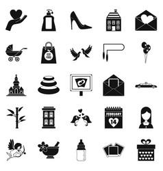 woman happy icons set simple style vector image