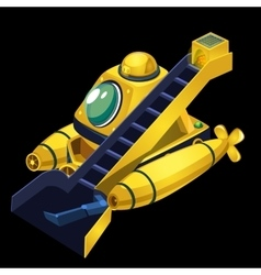 Yellow submarine cleaner of garbage vector image vector image