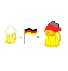Beer and German flag Mathematical formula beer mug vector image vector image