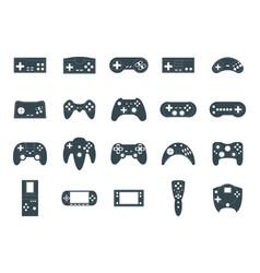 cartoon silhouette black gamepad icon set vector image
