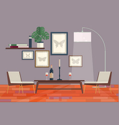 cool graphic living room interior design with vector image