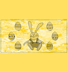 easter card with rabbit and eggs vector image
