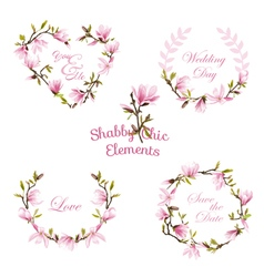 Flower Magnolia Banners and Tags Floral Wreath Set vector image vector image