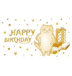 greeting card and poster with golden cat with gift vector image