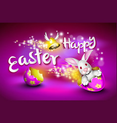 happy easter greeting card a funny rabbit driving vector image