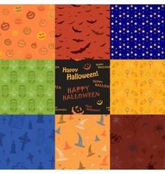 Nine Halloween texture pattern collection set vector image vector image