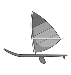 Sport boat with sail icon gray monochrome style vector