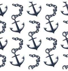 Vintage anchors with chains seamless pattern vector image vector image